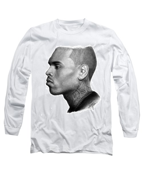 Chris Brown Drawing By Sofia Furniel Long Sleeve T-Shirt by Sofia Furniel