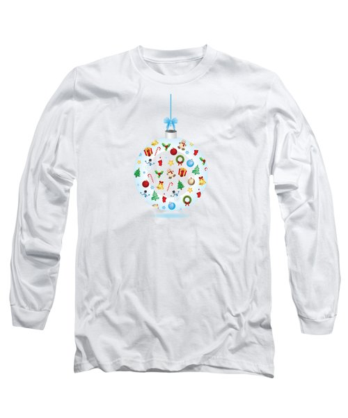 Christmas Bulb Art And Greeting Card Long Sleeve T-Shirt