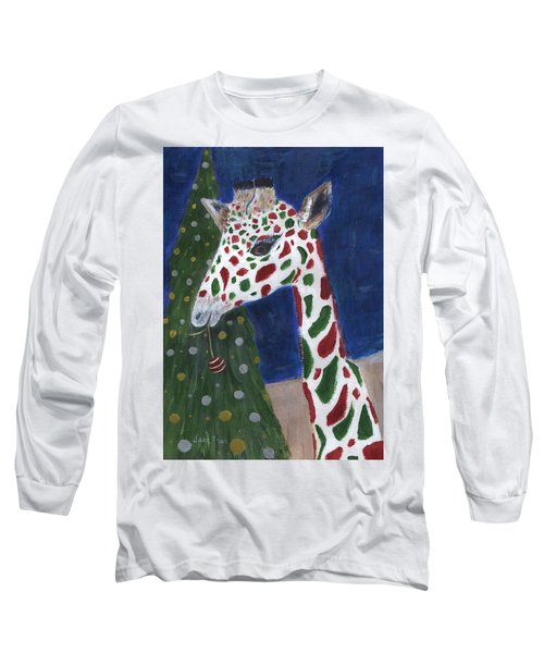 Long Sleeve T-Shirt featuring the painting Christmas Giraffe by Jamie Frier