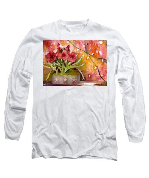 Christmas Holiday Amaryllis Long Sleeve T-Shirt
