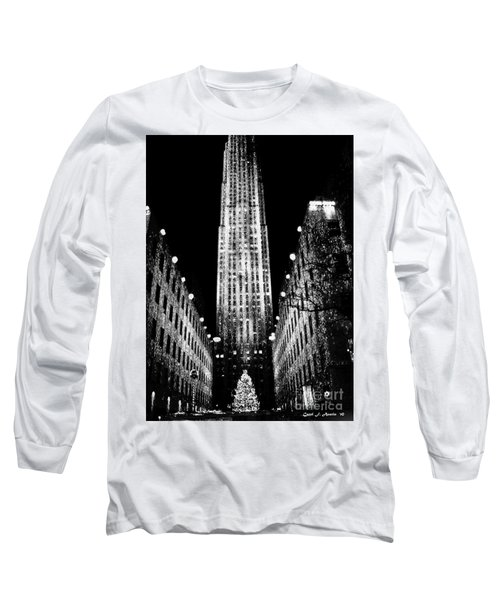Christmas In New York City Long Sleeve T-Shirt by Carol F Austin