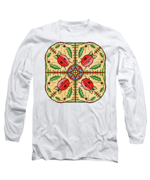 Christmas Ladybug Mandala Long Sleeve T-Shirt by Tanya Provines