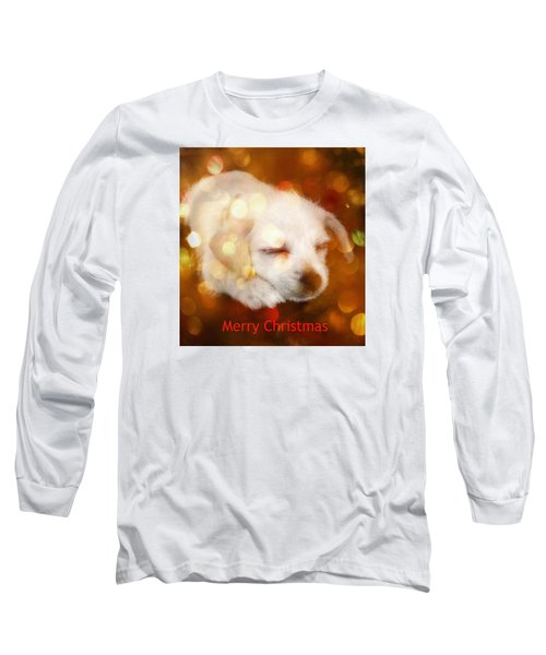 Christmas Puppy Long Sleeve T-Shirt by Amanda Eberly-Kudamik