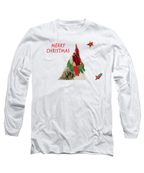 Christmas Rooster Tee-shirt Long Sleeve T-Shirt by Donna Brown