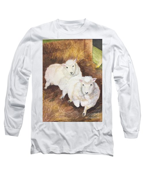 Long Sleeve T-Shirt featuring the painting Christmas Sheep by Lucia Grilletto
