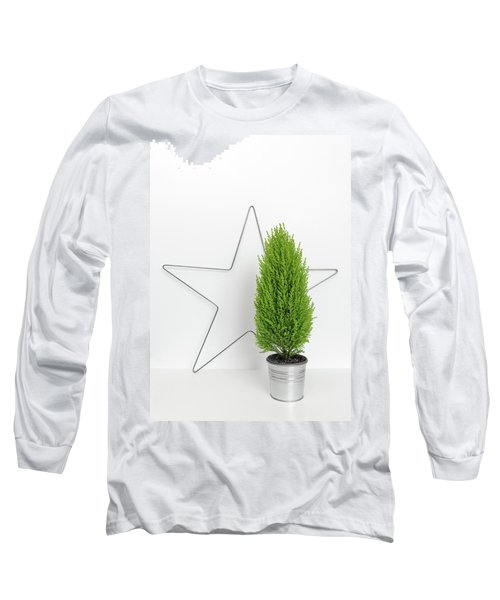 Christmas Star And Little Green Tree Long Sleeve T-Shirt by GoodMood Art