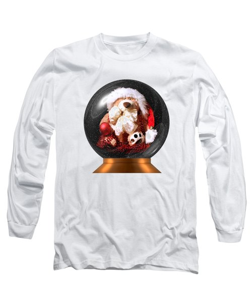 Christmas Teddy Snow Globe On A Transparent Background Long Sleeve T-Shirt