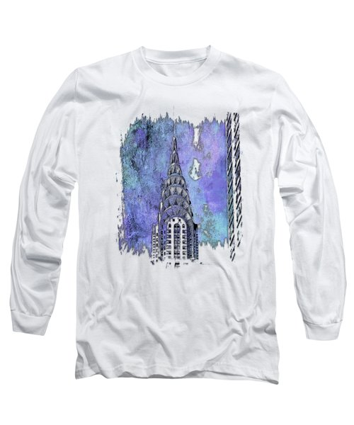 Chrysler Spire Berry Blues 3 Dimensional Long Sleeve T-Shirt by Di Designs