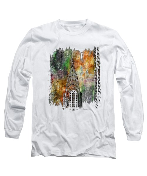 Chrysler Spire Muted Rainbow 3 Dimensional Long Sleeve T-Shirt by Di Designs