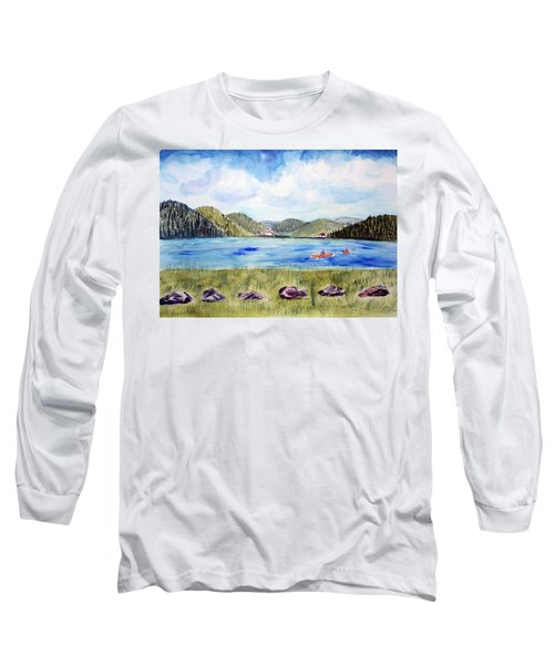 Long Sleeve T-Shirt featuring the painting Chrystal Lake  Barton Vt  by Donna Walsh
