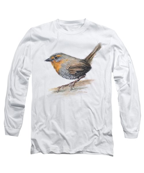 Chucao Tapaculo Watercolor Long Sleeve T-Shirt