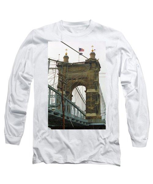 Cincinnati - Roebling Bridge 4 Long Sleeve T-Shirt by Frank Romeo