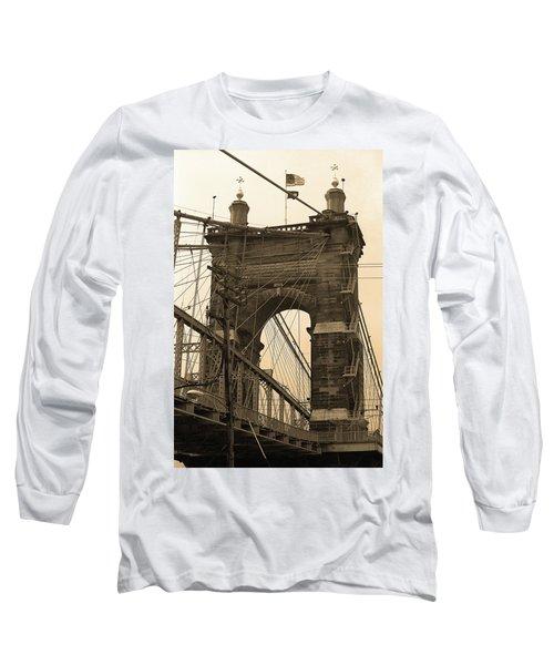 Cincinnati - Roebling Bridge 4 Sepia Long Sleeve T-Shirt by Frank Romeo