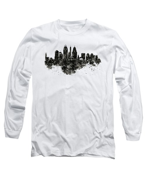 Long Sleeve T-Shirt featuring the mixed media Cincinnati Skyline Black And White by Marian Voicu