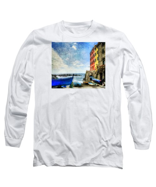 Cinque Terre - Little Port Of Riomaggiore - Vintage Version Long Sleeve T-Shirt