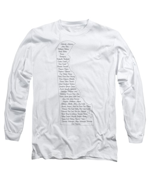 Cities And Towns In Delaware Black Long Sleeve T-Shirt by Custom Home Fashions