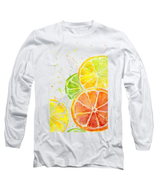 Citrus Fruit Watercolor Long Sleeve T-Shirt by Olga Shvartsur