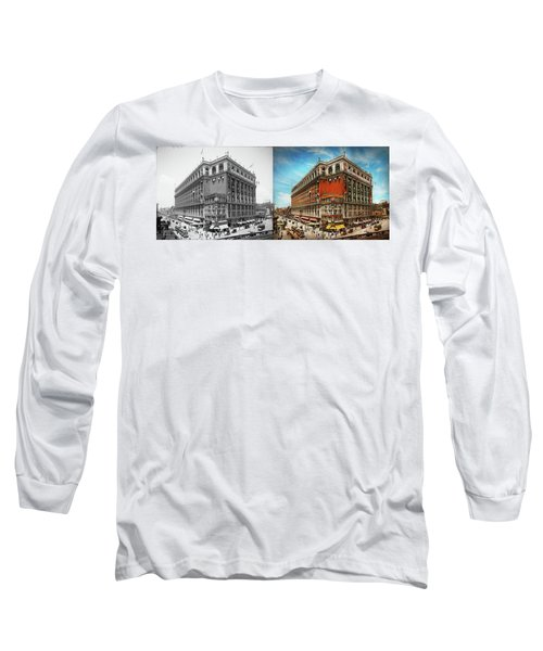 Long Sleeve T-Shirt featuring the photograph City - Ny New York - The Nation's Largest Dept Store 1908 - Side by Mike Savad