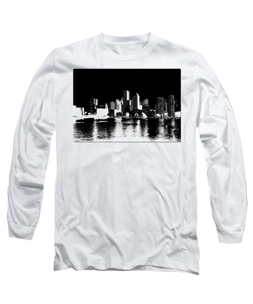 City Of Boston Skyline   Long Sleeve T-Shirt by Enki Art