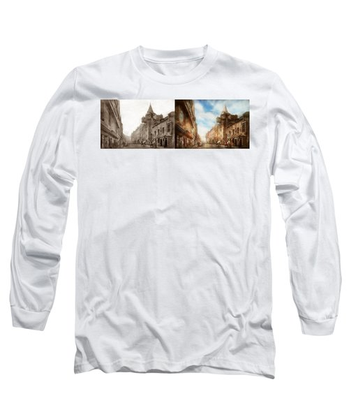 Long Sleeve T-Shirt featuring the photograph City - Scotland - Tolbooth Operator 1865 - Side By Side by Mike Savad