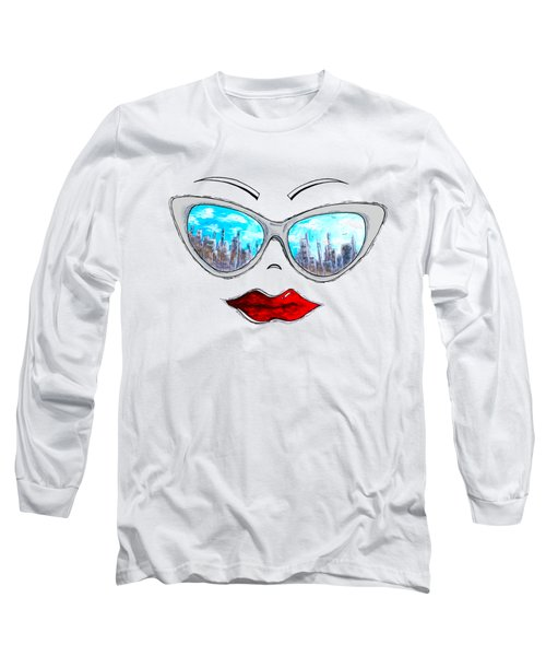 City Skyline Cat Eyes Reflection Sunglasses Aroon Melane 2015 Collection Collaboration With Madart Long Sleeve T-Shirt