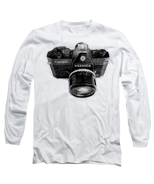 Long Sleeve T-Shirt featuring the drawing Classic Yashica Slr Film Camera by Edward Fielding