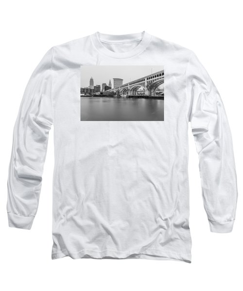 Cleveland Skyline In Black And White  Long Sleeve T-Shirt by John McGraw