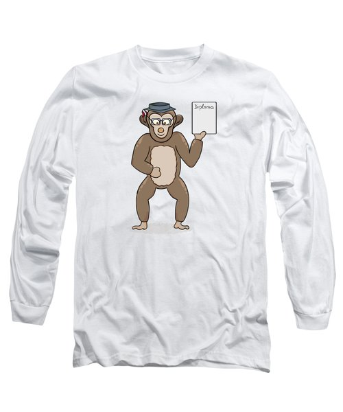 Clever Monkey With Diploma Long Sleeve T-Shirt