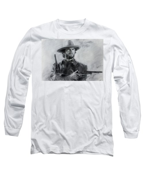 Long Sleeve T-Shirt featuring the drawing Clint Eastwood by Viola El