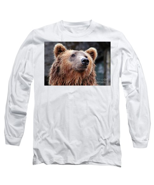 Long Sleeve T-Shirt featuring the photograph Close Up Bear by MGL Meiklejohn Graphics Licensing