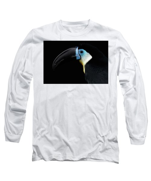 Close-up Channel-billed Toucan, Ramphastos Vitellinus, Isolated On Black Long Sleeve T-Shirt by Sergey Taran