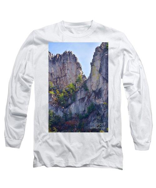 Close-up Of Seneca Rocks Top Edge Long Sleeve T-Shirt