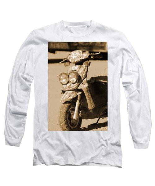 Closeup Of Jesus Scooter In Sepia Long Sleeve T-Shirt