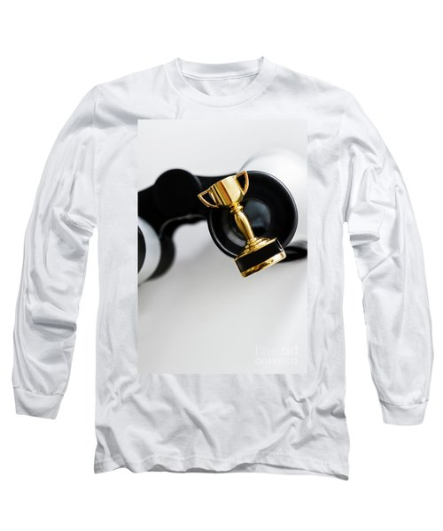 Closeup Of Small Trophy And Binoculars On White Background Long Sleeve T-Shirt