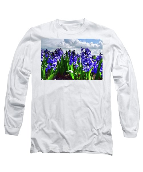 Clouds Over The Purple Hyacinth Field Long Sleeve T-Shirt by Mihaela Pater