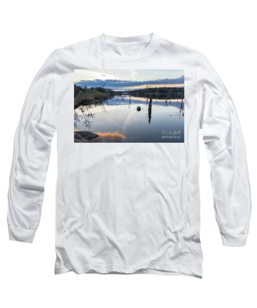 Clouds Reflecting On Large Lake During Sunset Long Sleeve T-Shirt