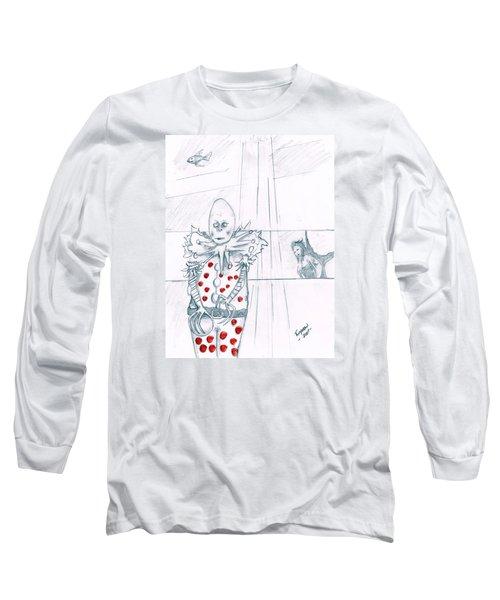 Clown With Crystal Ball And Mermaid Long Sleeve T-Shirt by Dan Twyman