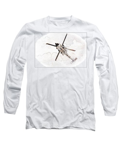 Long Sleeve T-Shirt featuring the photograph Coast Guard Helicopter by Aaron Berg