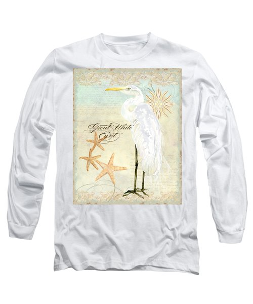 Coastal Waterways - Great White Egret 3 Long Sleeve T-Shirt by Audrey Jeanne Roberts