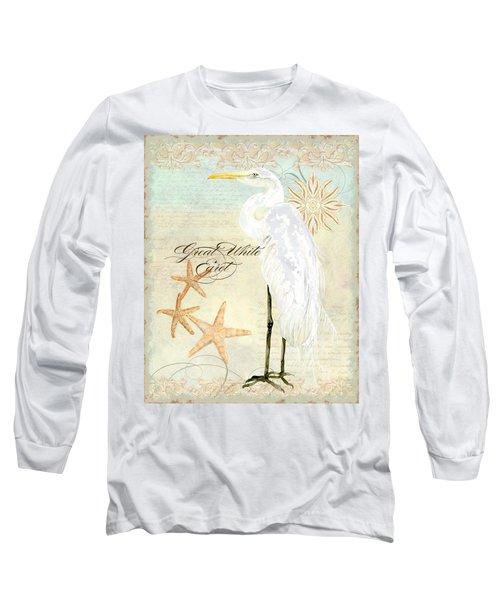 Coastal Waterways - Great White Egret 3 Long Sleeve T-Shirt