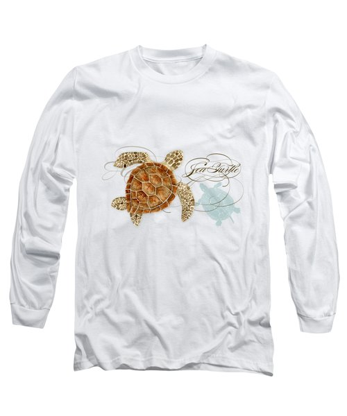 Coastal Waterways - Green Sea Turtle Rectangle 2 Long Sleeve T-Shirt by Audrey Jeanne Roberts