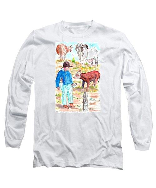 Coaxing The Herd Home Long Sleeve T-Shirt by Philip Bracco