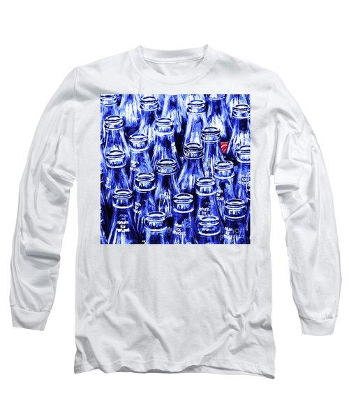 Coca-cola Coke Bottles - Return For Refund - Square - Painterly - Blue Long Sleeve T-Shirt