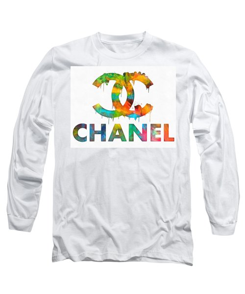 Coco Chanel Paint Splatter Color Long Sleeve T-Shirt by Dan Sproul