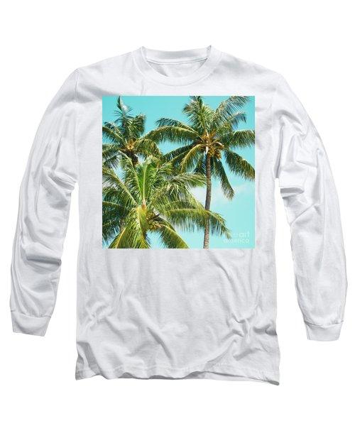 Coconut Palm Trees Sugar Beach Kihei Maui Hawaii Long Sleeve T-Shirt by Sharon Mau