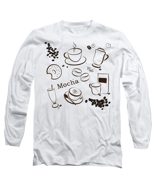 Coffee And Cafe Background Long Sleeve T-Shirt