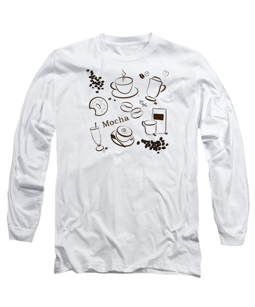 Coffee/cafe Pattern Background Long Sleeve T-Shirt by Serena King
