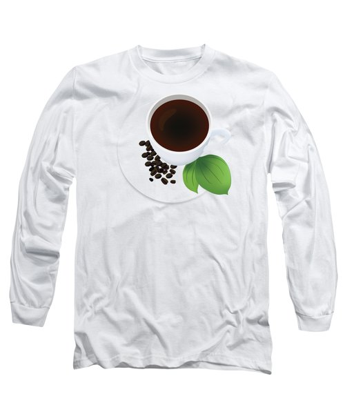 Coffee Cup On Saucer With Beans Long Sleeve T-Shirt by Serena King