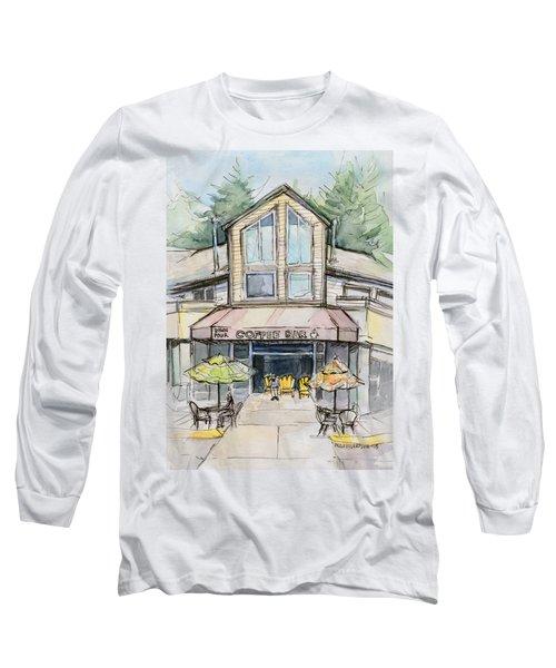 Coffee Shop Watercolor Sketch Long Sleeve T-Shirt