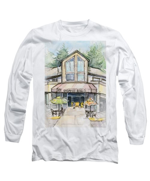 Coffee Shop Watercolor Sketch Long Sleeve T-Shirt